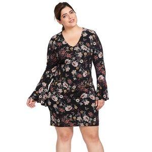 Karen Kane V-Neck Bell Sleeve Floral Dress